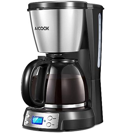 Aicook Cafetera, Cafetera Goteo, Cafetera Goteo Programable 12 Tazas con Jarra de Vidrio, Aislamiento y Filtro de Café Permanente, Deposito de Agua de ...