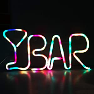 LED Neon Light Up Bar Signs with Lights, Bar Neon Light and Signs Letters USB Operated Night Lights for Bar, Pub, Bistro, Party, Wall Decor- BAR(Colorful)