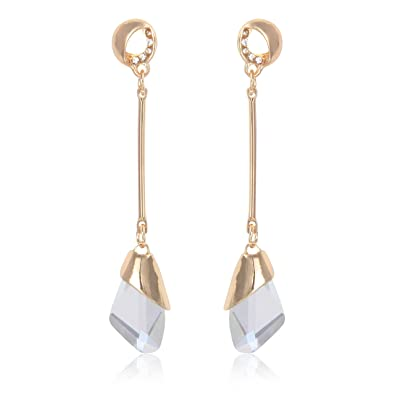 2f6c4ef0a Crunchy Fashion Jewellery Gold Plated Stylish Clear Crystal Drop Long  Earrings for Girls Fancy Party Wear