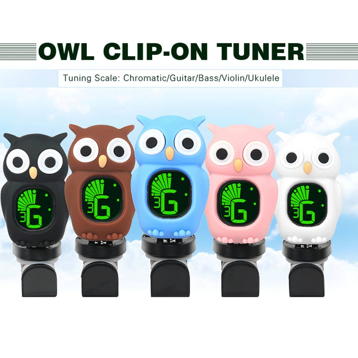 Guitar Tuner Clip-On Cartoon with LCD Display for All Instruments with Bass, Ukulele,Guitar,Chromatic,Violin Accessories, high-precision calibration, automatic shutdown. (Owl pink) Dulphee Musicals B7