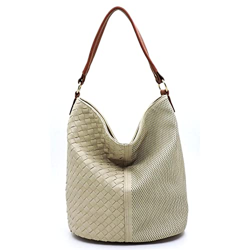 91b1266f33bf Vegan Faux Leather Woven and Perforated Shoulder Hobo Bags With ...