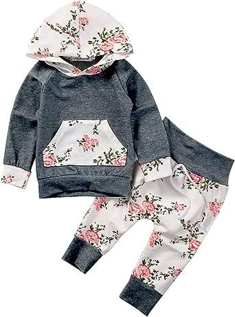 Baby Girls Long Sleeve Flowers Hoodie Sweatshirt Top and Pants Outfit with Kangaroo Pocket Tracksuit Set