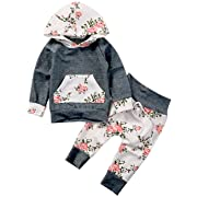 Baby Girls Long Sleeve Flowers Hoodie Top and Pants Outfit with Kangroo Pocket (0-6M/Tag 70, Grey)