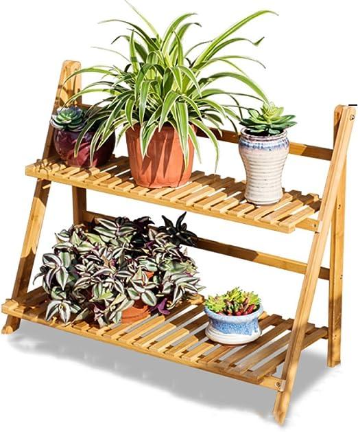 Soportes De Flores De Hierba Shop-Outdoor / Soportes De Planta De Metal De 2 Niveles Interior / Exterior / Jardinera De Invernadero / Estante De Escalera De Plantador Estantería De Jardín (1),