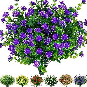 6 Bundles Artificial Flowers Outdoor Fake Flowers for Decoration UV Resistant No Fade Faux Plastic Plants Garden Porch Window Box Décor (Purple)