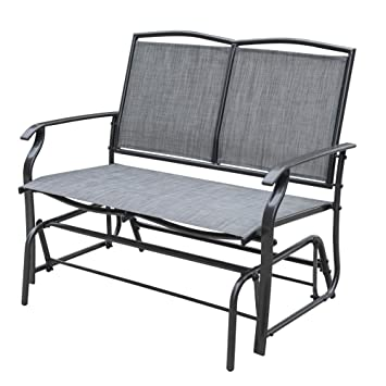 Sundale Outdoor 2 Person Loveseat Glider Bench Chair Patio Porch Swing With  Rocker Steel Frame,