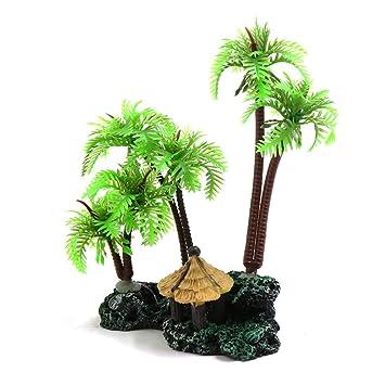 sourcingmap Plástico Verde Árbol De Coco Acuario Paisaje Acuático La Planta De Decoración de Tanque Reptiles Terrarios: Amazon.es: Productos para mascotas