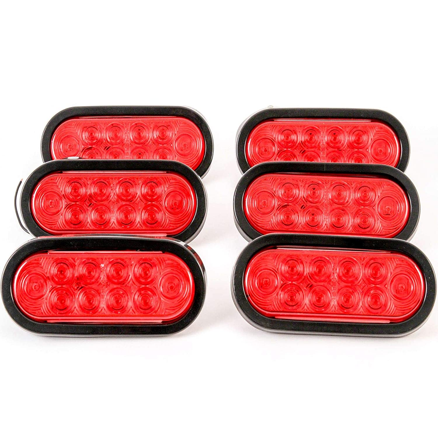 2 Trailer Truck LED Sealed RED 6 Oval Stop//Turn//Tail Light Marine Waterproof Bus RV Semi Tractor Shuttle Red Hound Auto