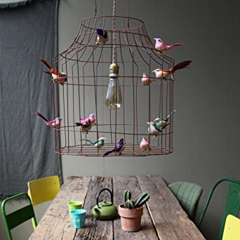 Hängeleuchte Esstisch Küche, Dimmbar, Von Vogelkäfig Mit Vögeln In Eisen  Vintage Metal Cage Corb
