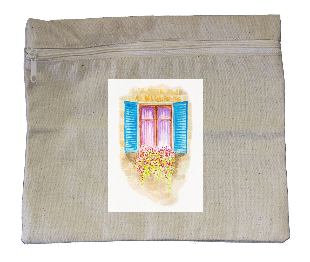 Canvas Zipper Pouch Tote Bag 10''X12'' Watercolor Vintage Window With Flowers
