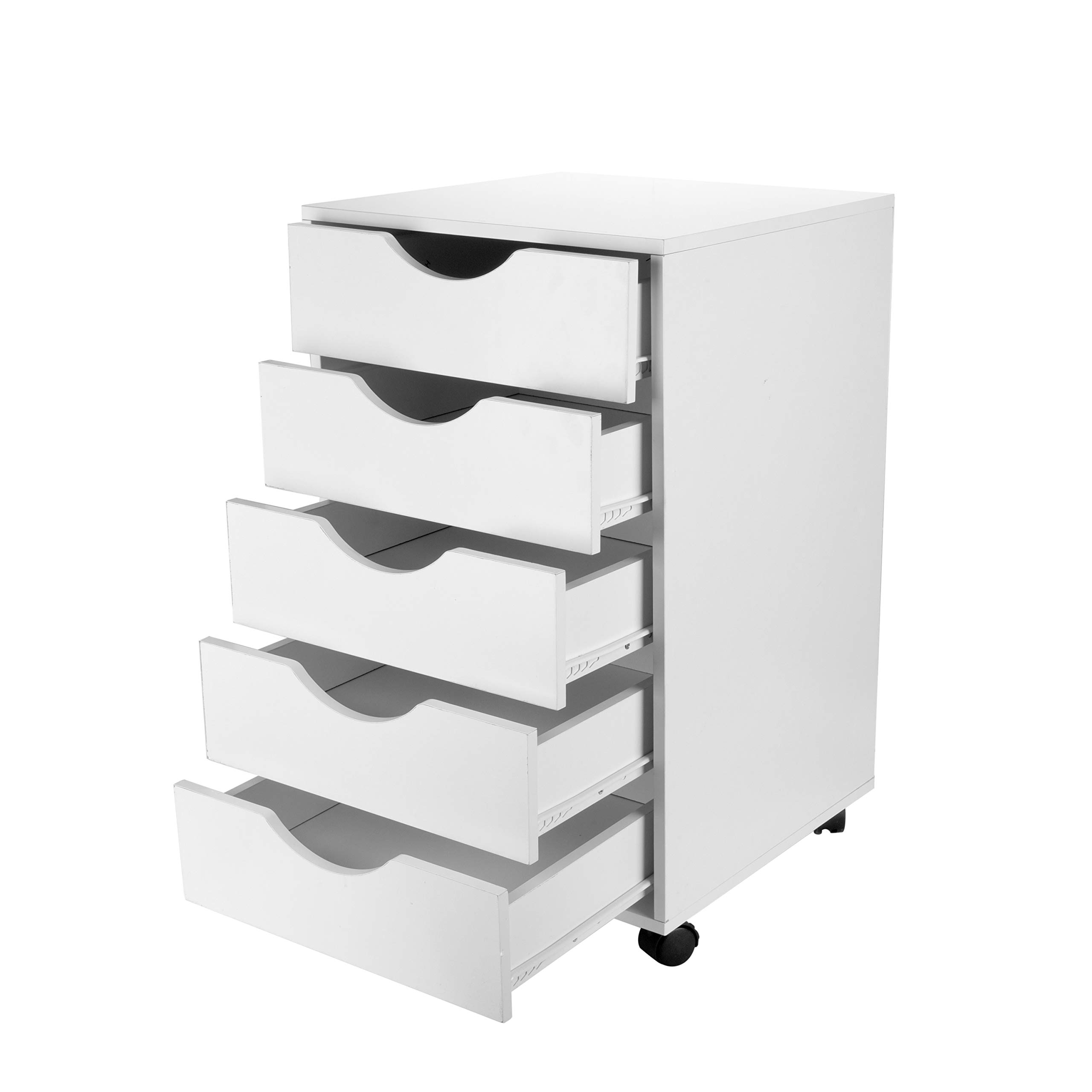 eMerit 5 Drawer Wood File Cabinet Roll Cart Drawer for Office Organization White by EMERIT (Image #3)