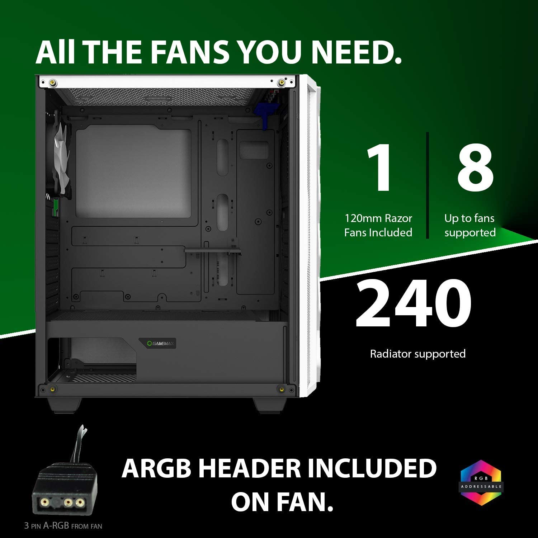 Gamemax Black Diamond Argb Mid Tower Pc Gaming Case Computers Accessories