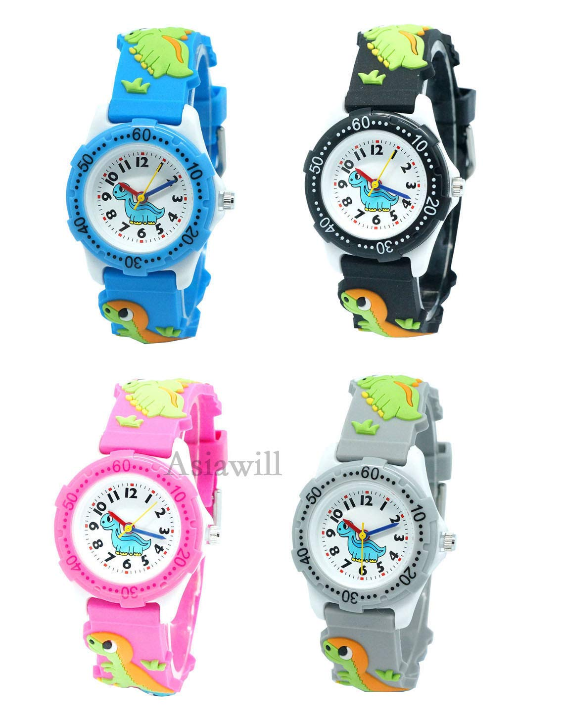 Asiawill 4 Pack Unisex Kids Students Watches Creative 3D Dinosaur Design Children Watches Analog Quartz Wrist Watch by Asiawill