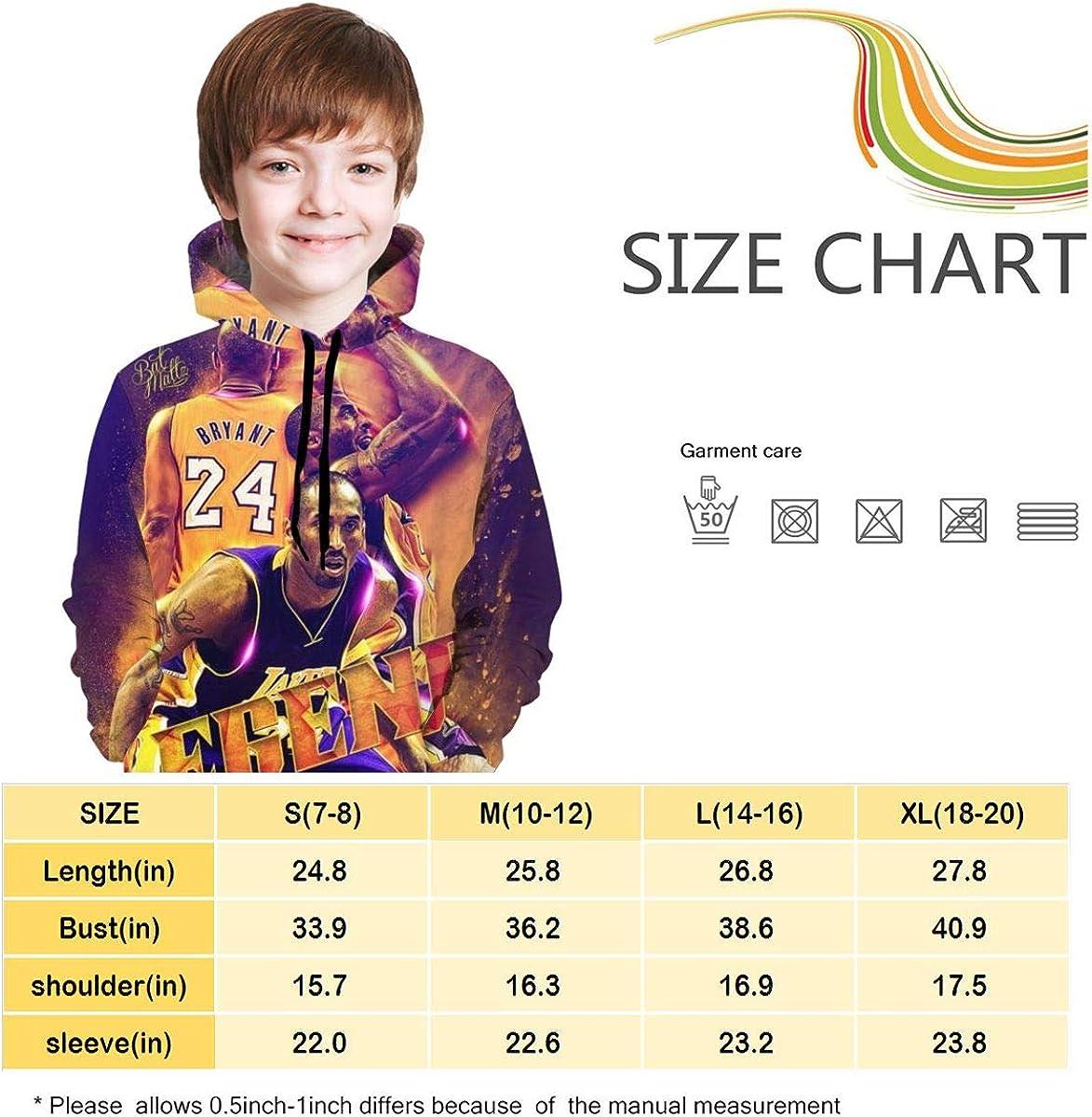 Boys and Girls Teenager 2020 Kobe-Bryant Number 24 3D Printed Hoodies Sweater Athletic Sweatshirts