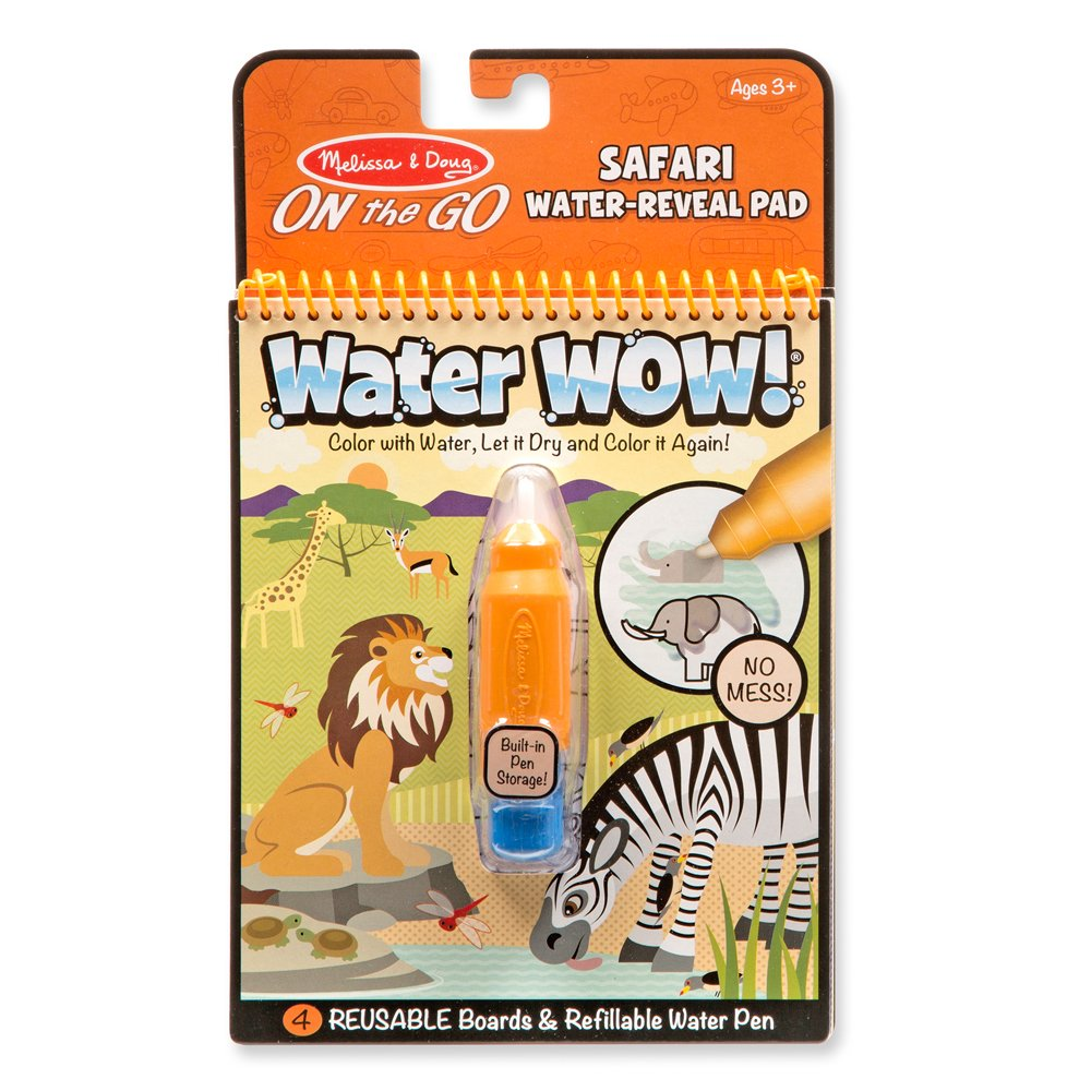 Melissa & Doug Wow! Safari Water Reveal Pad and Water Wow Coloring Book - Vehicles Bundle