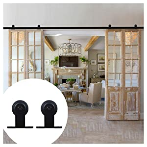 LWZH 9FT Double Sliding Barn Door Steel Hardware Kit Sliding Interior Door Track Set(Black T-Shaped Hangers)