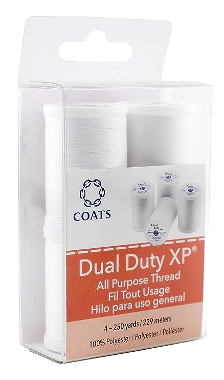 Coats Abrigos Mezcla de poliéster Dual Deber XP Multiusos Rosca 250yd spools-White