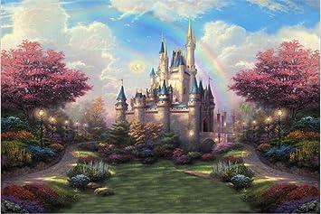 Rainbow Enfants Chateau Toile De Fond Bleu Ciel Arbres Avec Feuilles