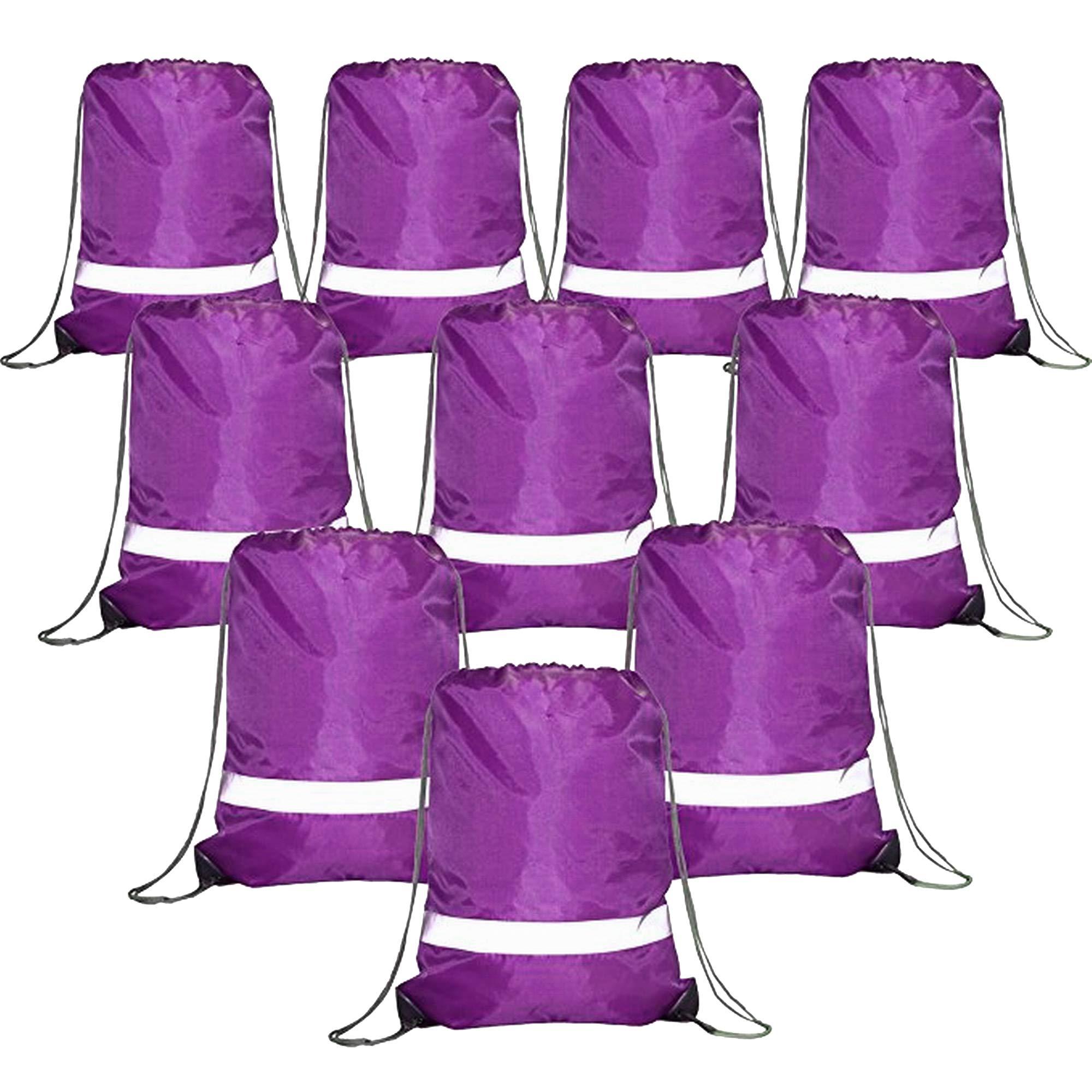 Drawstring Backpack Bags Reflective Bulk Pack, Promotional Sport Gym Sack Cinch Bags (10 Purple)