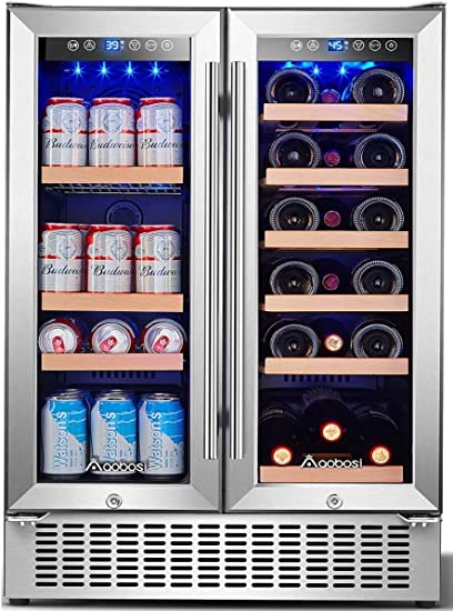 Aobosi 24 Inch Beverage And Wine Cooler Dual Zone 2 In 1 Wine Beverage Refrigerator With Independent Temperature Control Led Light Quiet Operation Energy Saving Hold 18 Bottles And 57 Cans Appliances