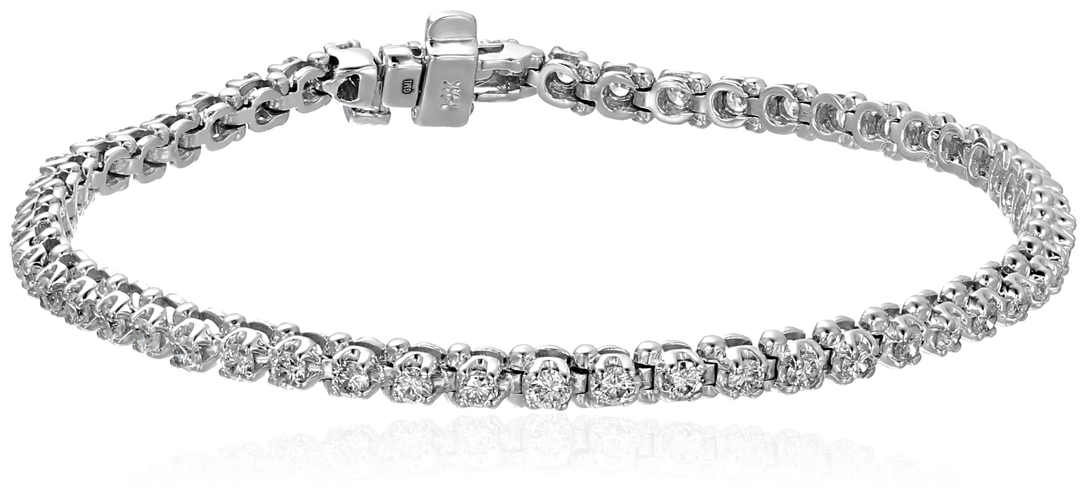 14k White Gold Diamond Miracle Plate Tennis Bracelet (2 cttw, K-L Color, I1-I2 Clarity), 7''