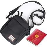 Black Small Side Shoulder Bag Crossbody Bag For Men Women Mini Messenger Bag Satchel Bag Travel Purse Wallet Passport…