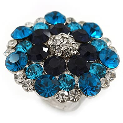 Avalaya Silver Tone Dark Blue/Clear/Turquoise Coloured Diamante Cocktail Ring (Adjustable Size 7/8) - 3cm Diameter RWXJ14nh