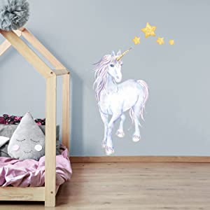 Mythical Unicorn and Stars Wall Decal (Extra Large Size) | Girl's Room décor | Wall Stickers