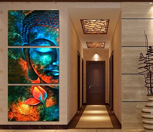 Framed 3pcs Abstract blue Buddha Modern home decor Canvas Print Painting  Wall Art Picture For Living Room decor picture PT1056,40x60cmx3pcs,Framed