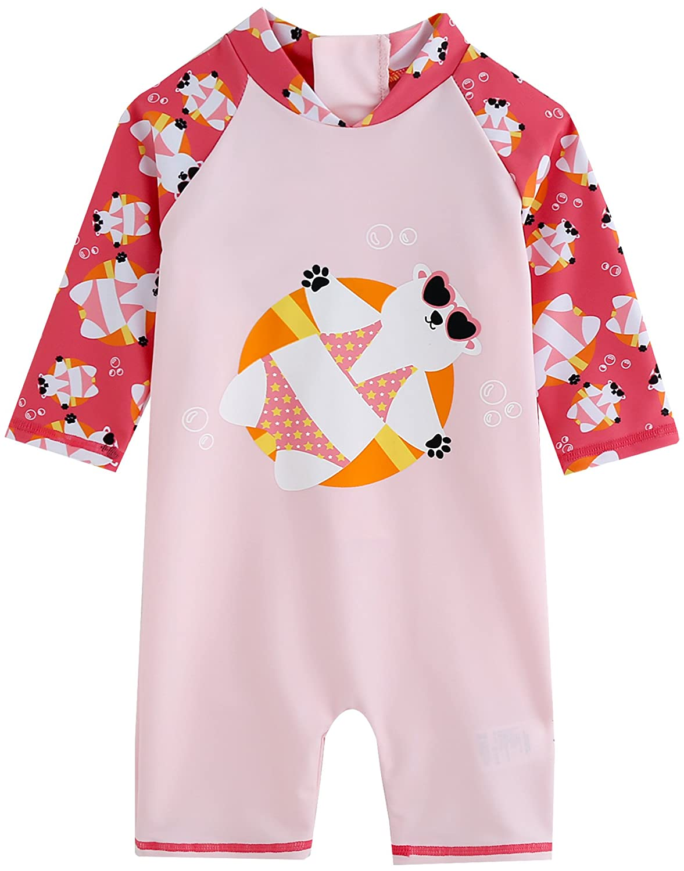 Vaenait Baby 0-24M Baby Girls Swimsuit Rashguard Swimwear Tanning Bear Pink C_GSW_050