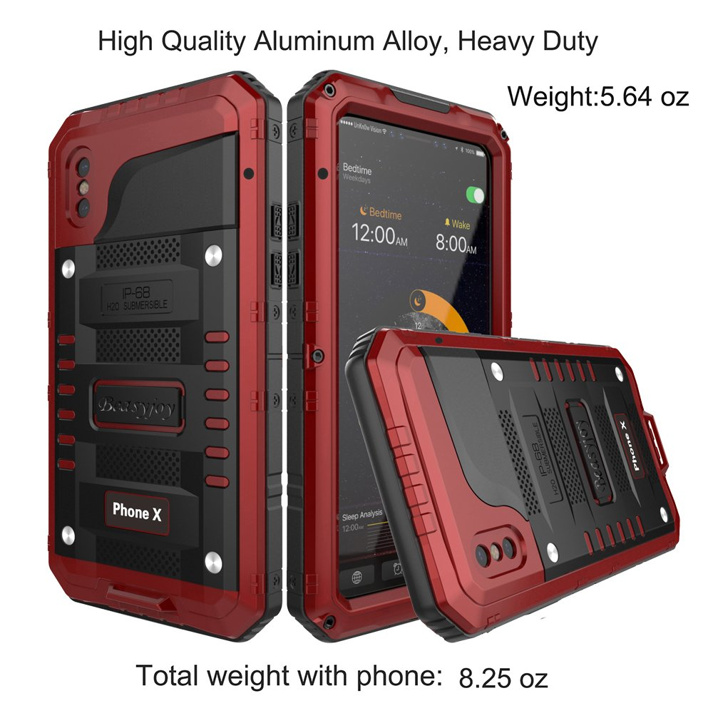 first rate 996f6 33b88 Beasyjoy Metal Case for iPhone X,Heavy Duty Hard Strong Aluminum Cover  Waterproof with Screen Full Body Protector, Drop Proof Shockproof Tough  Rugged ...