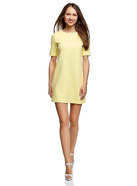 oodji Collection Mujer Vestido Recto de Tejido Texturizado, Amarillo, ES 36 / XS