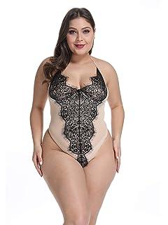 d563203d178 Gain Love Plus Size Women Sexy Lingerie Teddy One Piece Wired Bra Eyelash  Lace Halter Babydoll