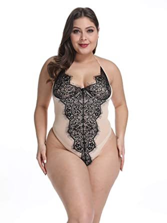 b5853c614ac Gain Love Plus Size Women Sexy Lingerie Teddy One Piece Wired Bra Eyelash  Lace Halter Babydoll