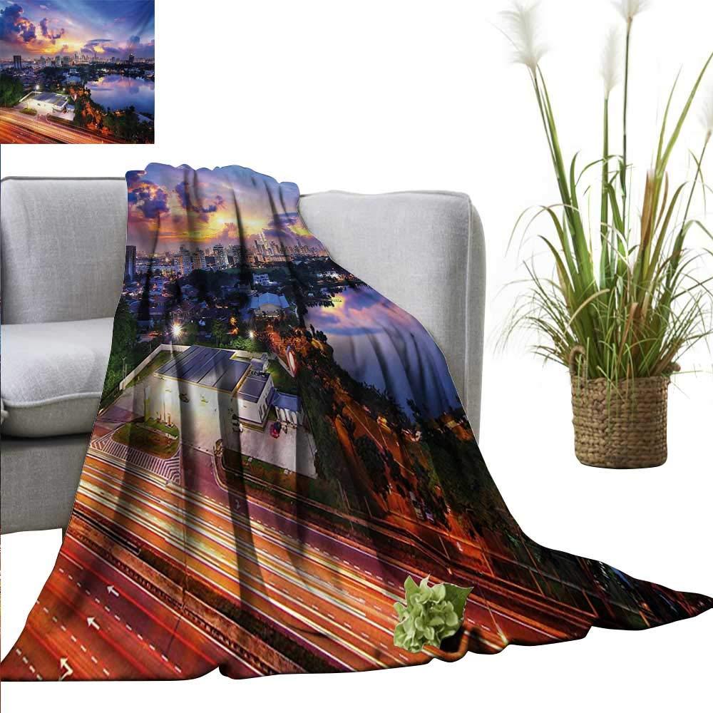 "XavieraDoherty Blanket as Bedspread City,Vibrant Kuala Lumpur Skyline at Sunset Malaysia Landmark Dramatic Dusk Evening Clouds,Multicolor Cozy and Durable Fabric-Machine Washable 70""x90"""