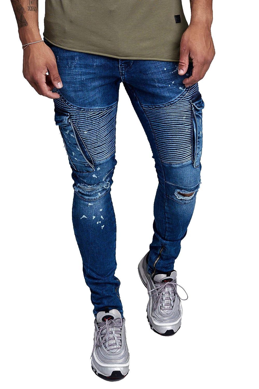Herren Biker Jeans Blau Bleached Ripped Slim Fit Denim Jeanshose Coloured 3066