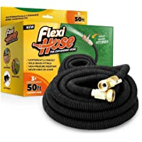 """FlexiHose Upgraded Expandable 50 FT Garden Hose Extra Strength 3/4"""" Solid Brass Fittings - The Ultimate No-Kink Flexible Water Hose"""