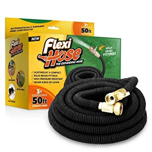 "Flexi Hose Upgraded Expandable 50 FT Garden Hose, Extra Strength, 3/4"" Solid Brass Fittings - The Ultimate No-Kink Flexible Water Hose (Black)"