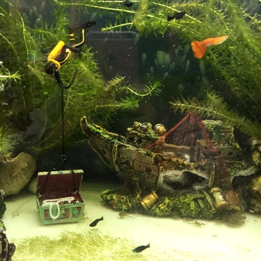 Ornamento Acuario - SODIAL(R) Barco de Pesca del Ornamento del Acuario Decoracion Para Fish Tank, 100% Sguro para la Dcoracion de Tanque de Pez: Amazon.es: ...
