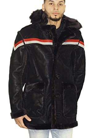 2c162d548843c8 Image Unavailable. Image not available for. Color  Jordan Craig Tuscany  Striped Shearling Jacket Black