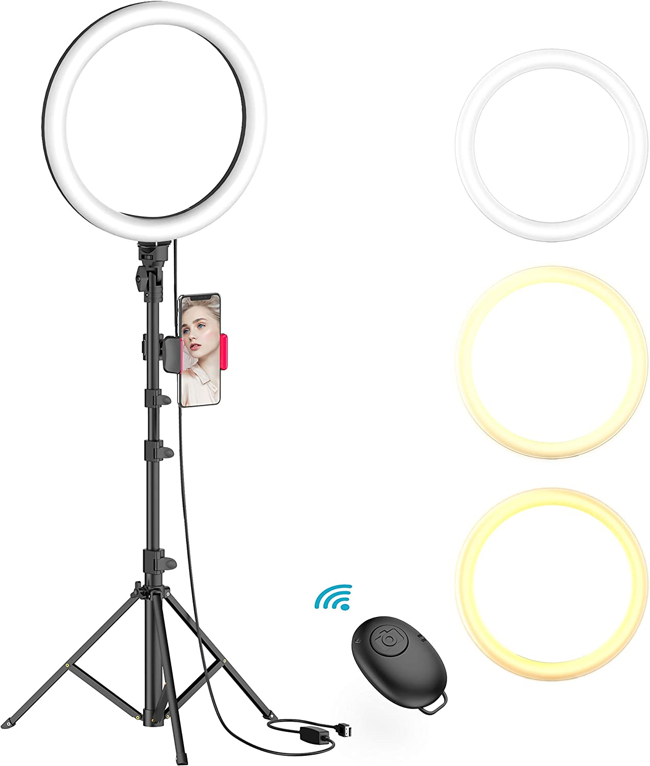 Amazon Com 10 Selfie Ring Light With Tripod Stand Phone Holder