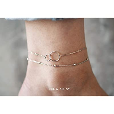 Multilayer Ankle Bracelet Silver Gold Lady Charms Beaded Adjustable Beach Anklet