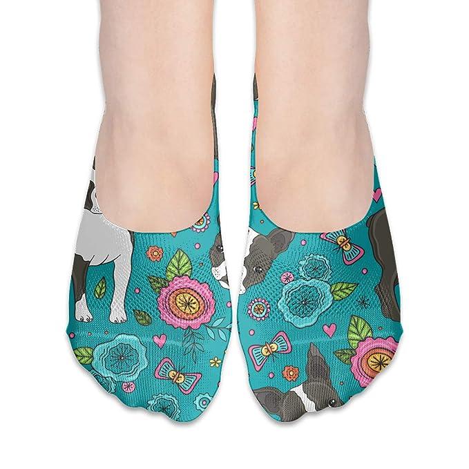 Dog Boston Terrier Women s Non Slip Flat Boat Line No Show Socks at Amazon  Women s Clothing store  6f6818e0c
