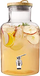 Style Setter Beverage Dispenser with Wooden Lid, Glass, 1.2 Gallon, Ford Beverage Dispenser, Clear
