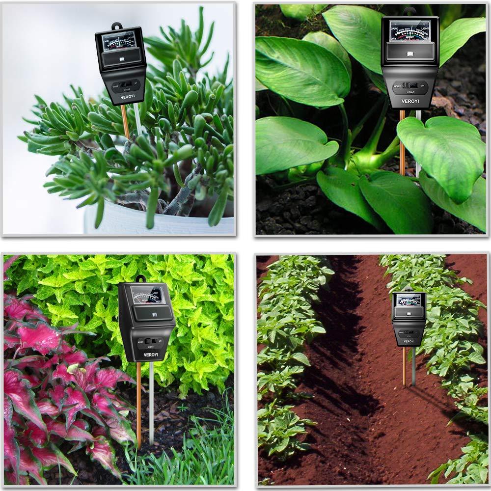 Veroyi ST04 Soil Tester, 3-in-1 Plant Soil Moisture/pH/Light Tester for Gardener (Black)