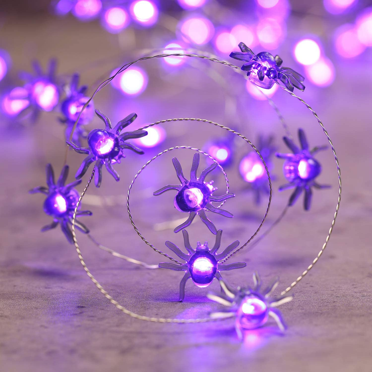 Purple Lyhope Bat Halloween Lights 40 LED 13.5ft Battery Powered Halloween String Lights Flexible Copper Wire Decorative Lights for Halloween Party Decorations