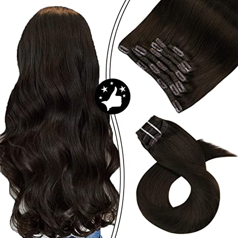 Image ofMoresoo 16 Pulgadas Extensiones de Cabello Humano Remy Hair #2 Marron Oscuro Extensiones de Cabello Natural Clip 100 Gram 7 Pieces Pelo Humano Natural Brasileño