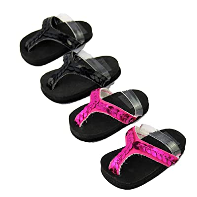 """American Fashion World 2 Pack of Flip Flops: Hot Pink and Black