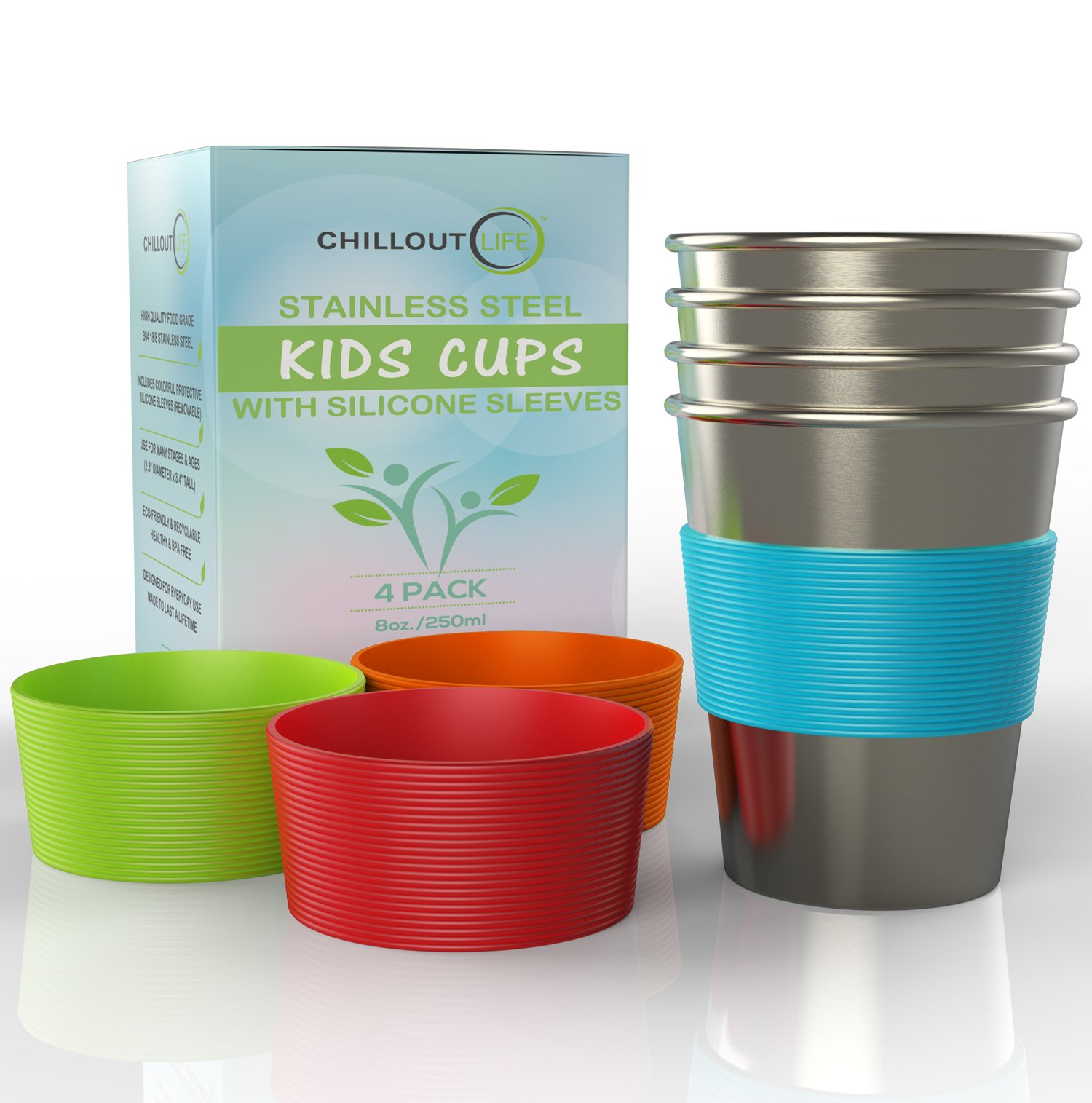 Stainless Steel Cups for Kids and Toddlers 8 oz. with Silicone Sleeves - Stainless Steel Sippy Cups for Home & Outdoor Activities, BPA Free Healthy Unbreakable Premium Metal Drinking Glasses (4-Pack) by CHILLOUT LIFE