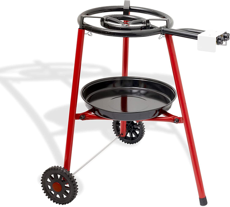 Ringg No239 - Paellera multifuncional con soporte robusto con ruedas (40 cm, butano/propano, soporte robusto con ruedas, dos anillos/cocción para ...
